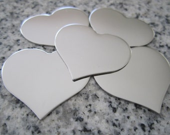 """1 1/4""""x1"""" (32MMx25MM) Heart Stamping Blanks, 22g Stainless Steel - AWESOME Silver Alternative H10-08"""