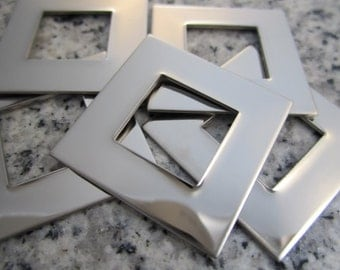 """1"""" (25MM) Square Washer Stamping Blanks, 22g Stainless Steel - AWESOME Silver Alternative SW08"""