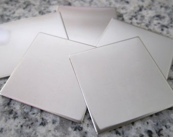 "1"" (25MM) Square Stamping Blanks, 22g Stainless Steel - AWESOME Silver Alternative S08"