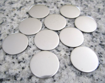 """1/2"""" (13MM) Round Disc Stamping Blanks, 22g Stainless Steel - AWESOME Silver Alternative R04"""