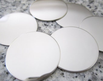 """1"""" (25MM) Round Disc Stamping Blanks, 22g Stainless Steel - AWESOME Silver Alternative R08"""