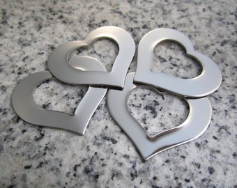 """1 1/4"""" x 1"""" (32mm x 25mm) Heart Washer Stamping Blank, 22g Stainless Steel - AWESOME Silver Alternative HW10-08N"""