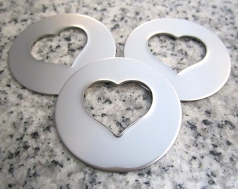 """1 1/4"""" (32mm) Round Heart Hole Washer Stamping Blanks, 22g Stainless Steel - AWESOME Silver Alternative HTRW10"""