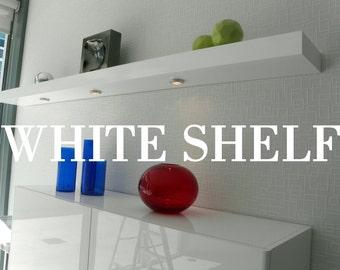 60 long floating white high gloss shelves wall white. Black Bedroom Furniture Sets. Home Design Ideas