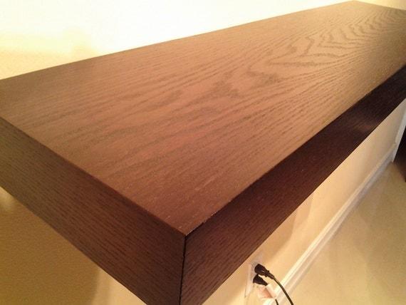 "Wall Decor 60"" Long Floating Wood Shelves, Oak Wood Espresso Color Wall shelf"