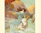 Greek Classic 1920s Childrens Colour Print - Jupiter In The Guise Of A Bull Swims Away With Europa On His Back . Ideal For Framing.