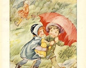 Vintage 1915 Childrens Colour Print Umbrellas In Rainy Weather. Ideal For Framing.