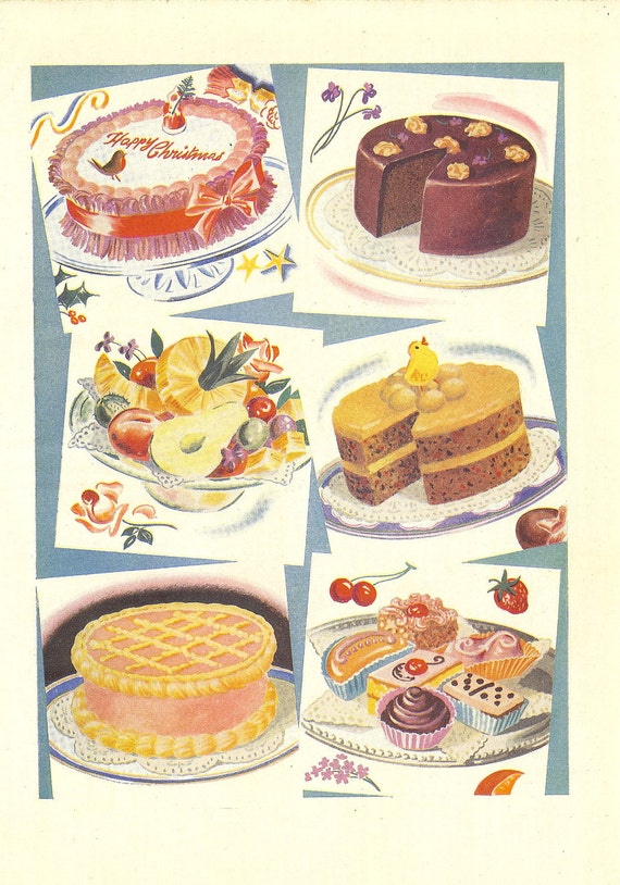 Two 1940s Food Prints - Cakes and Cookies- Baked Goods. Ideal for Framing
