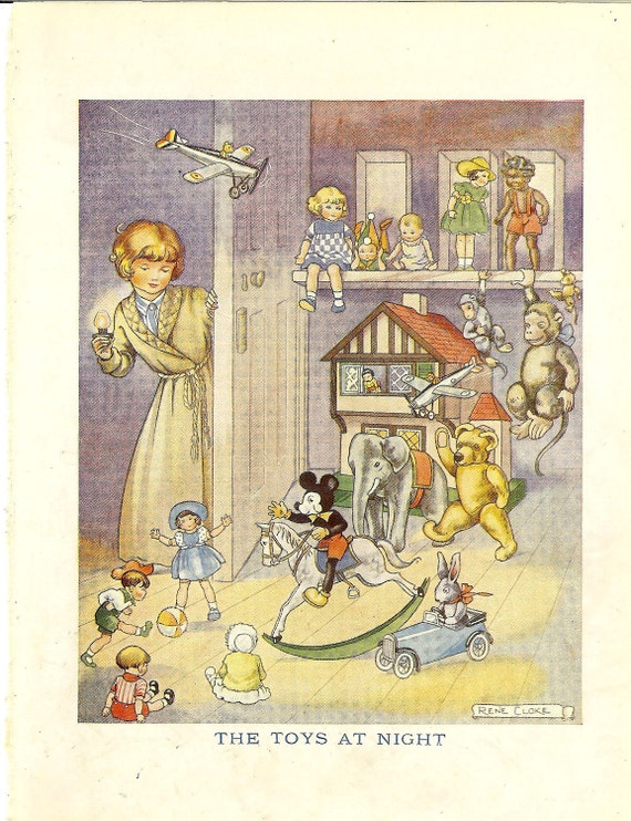 "1940s ""The Toys At Night"" Childrens Colour Print By Rene Cloke Ideal for Framing"