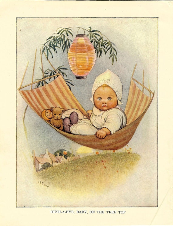 Vintage 1930s Nursery Rhyme Print By S B Pearse Hush A Bye