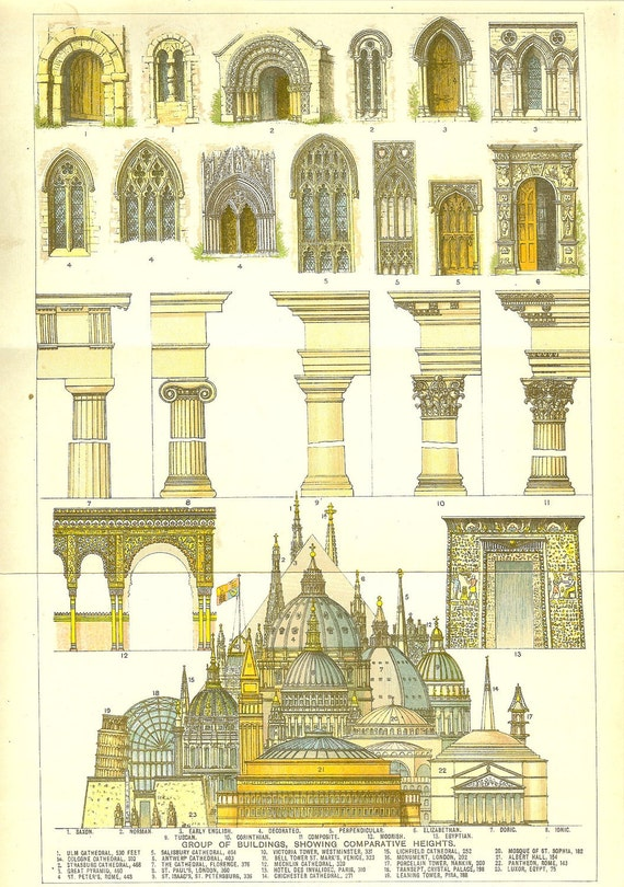 Antique 1900 Architectural Coloured Print of Church Windows and Columns. Ideal for Framing.
