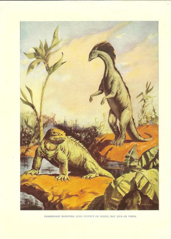 Vintage 1950s  Dinosaur Colour Print. Ideal For Framing
