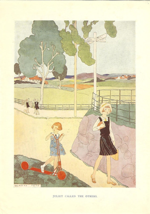 1933 Art Deco Gladys Peto Vintage Print Schoolgirl Walks Off Followed By Sister On Her Scooter. Ideal For Framing.