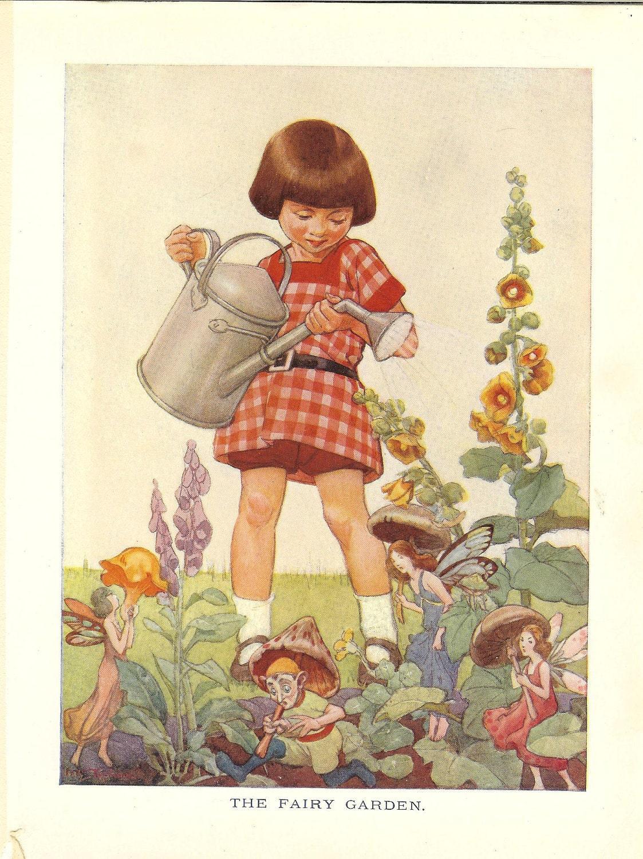 1923 The Fairy Garden Vintage Childrens Print Little Girl