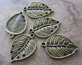 6 Antiqued Brass Pewter Drops, 25x20mm Leaf, 5 Holes - JD23