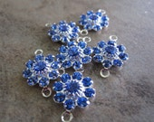 6 Swarovski Crystal and Silver-Plated Brass Links, Sapphire, 10mm Flower - JD54