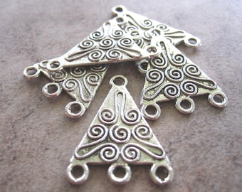 6 Antiqued Silver-Plated Pewter Drops, 18x18x15mm Double-Sided Fancy Triangle with Spirals and 3 Loops - JD33