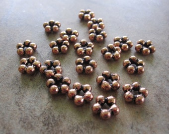 Beads - Lot of 20, Antiqued Copper, 7x3mm Flower Spacers - JD85