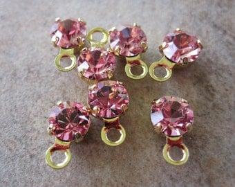 6 Swarovski Crystal and Gold-Plated Brass Drops, Light Rose, Foil Back, 4-4.1mm Round - JD98
