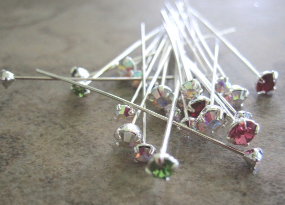 20 Headpin Mix  Swarovski Crystal Rhinestone and Silver-Plated Brass, Mixed Colors & Sizes - JD58