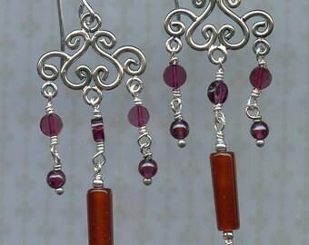 Carnelian and Garnet Earrings