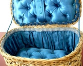 ESTATE SALE - Vintage Antique English Victorian Sewing Basket with Tufted Blue Silk Lining