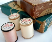 ESTATE SALE - Vintage Lily and Coats & Clark's Sewing Thread on wooden spools in Original Boxes - Instant Collection