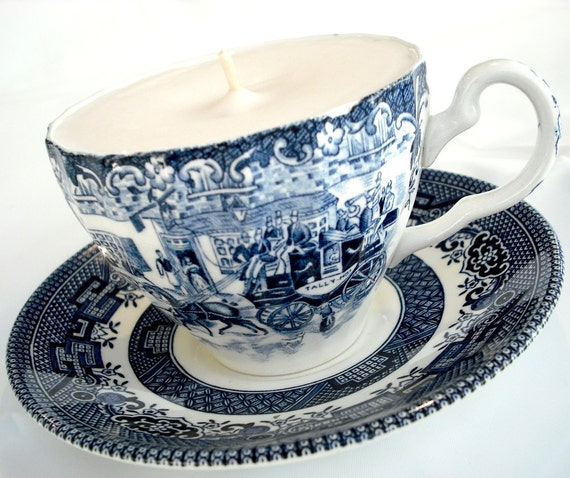 ESTATE SALE - Teacup Collectable Candle - Vintage Blue & White Transferware