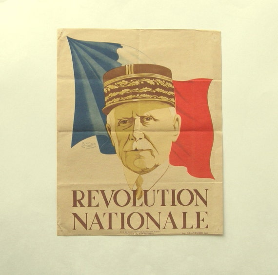 World War Two Poster,  Original French, with Portrait of Petain