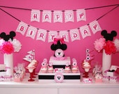 Minnie Mouse Birthday Party package -----Bubblegum Pink Polka dot Minnie Mouse Party Theme for richellejohnson