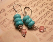 Earrings with Turquoise and Cherry Quartz Beads