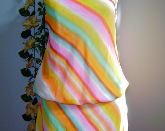 Summer-SALE- Sheer Chiffon, Stripe  Print Vintage Sundress, Halter top Swing in Small to Medium