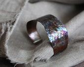 Flame Painted Copper Cuff Bracelet - medium