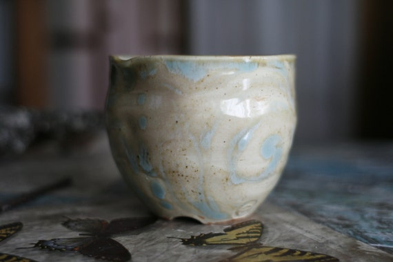 sand turquoise pottery tall bowl cup