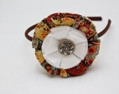 Fabric Flower Heaband-Patterned on Brown Headband with Vintage Button