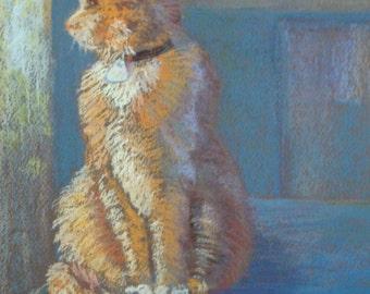 Cat by Window, Original Pastel Painting in Blue Room
