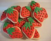 Mini Strawberry Decorated Sugar Cookies- (24) Two Dozen