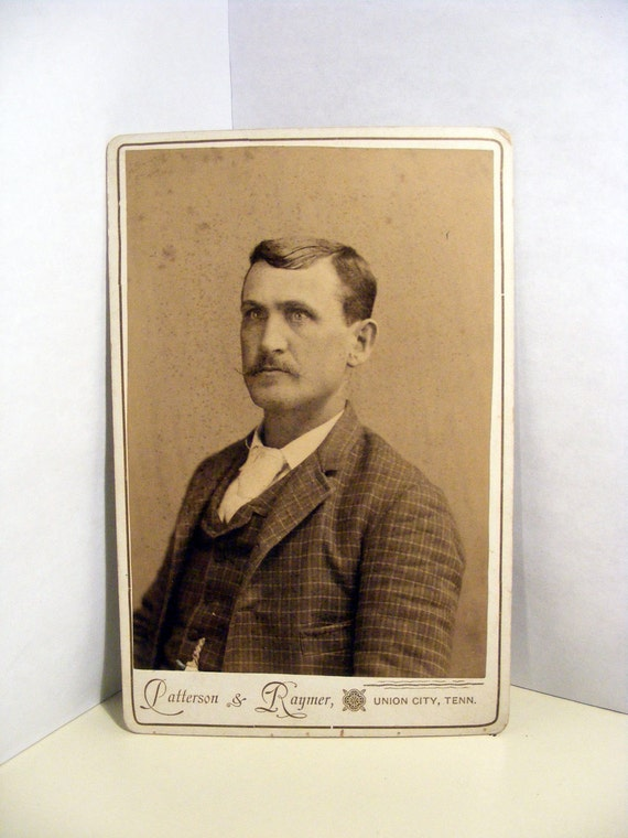 Sharp Dressed Mustached Man 1800s Cabinet Card Antique Photograph / Protected in High Quality Photo Dealer Sleeve