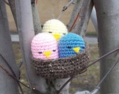 Pastel Nesting Chicks Amigurumi Toy