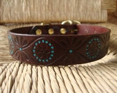 """Cocoa and Turquoise Leather Dog Collar.  Embossed Retro Design. 1"""" Leather Collar."""
