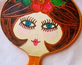 Vintage 60s hand mirror with face