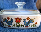 Vintage Corning Ware Country Festival one qt. bowl square glass lid blue birds red flowers PA Dutch folk design food storage casserole dish