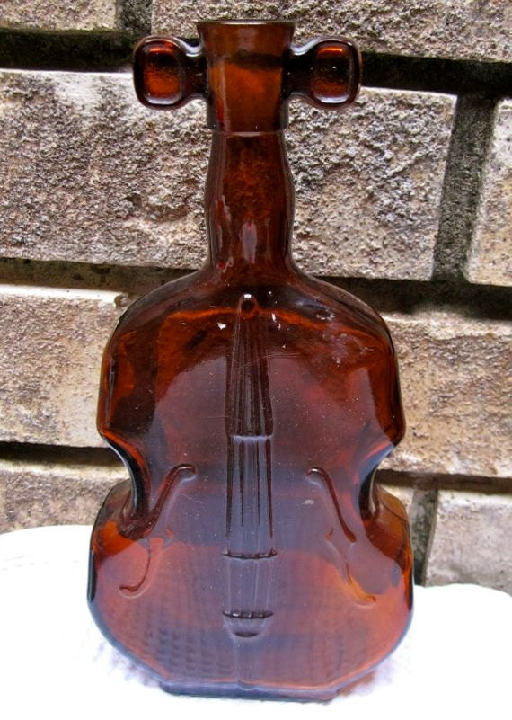 Vintage Violin Glass Bottle Vase Amber Color