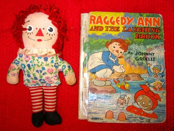 Vintage Raggedy Ann doll and book 1940 The Laughing Brook