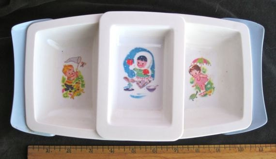 Vintage nursery decor divided tray dish baby feeding by for Baby tray decoration