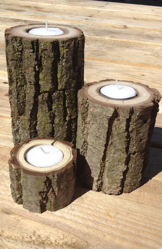 Set of Three Staggered Height Wood Log Tea Light Candle Holders.  Black Walnut.  Rustic.  All Natural.