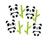 Adorable panda die cuts - 4 dies - you choose your colors (C6)