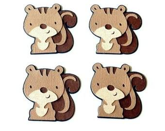 Squirrel die cuts - 4 dies (2 in.) - you choose your colors (C6)