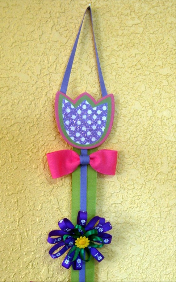 Hair bow holder - Pink, purple, green tulip
