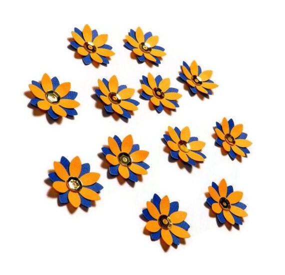 Multi-colored flowers - set of 12 (DF6)